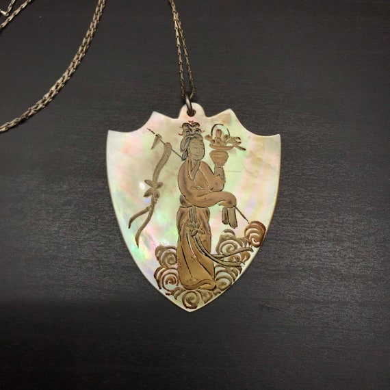 Hand Painted Chinoiserie Pendant - Antique Necklac