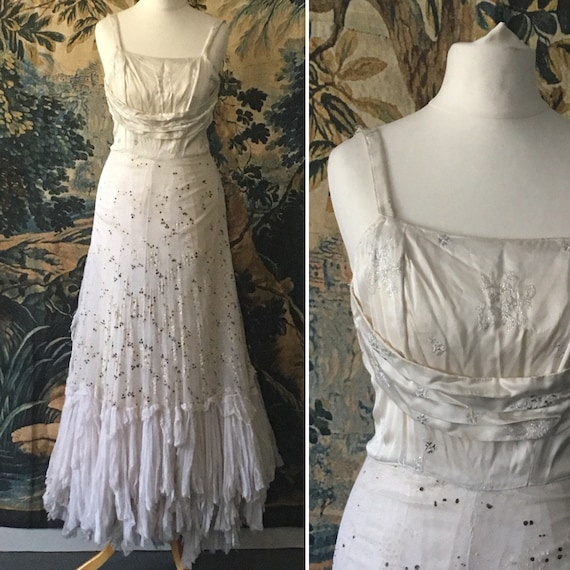 Vintage Wedding Dress - Tulle Bridal Gown - 1930's