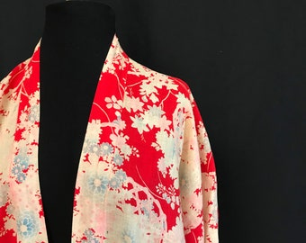 Antique Red and Cream Cotton Kimono - Vintage Loungewear
