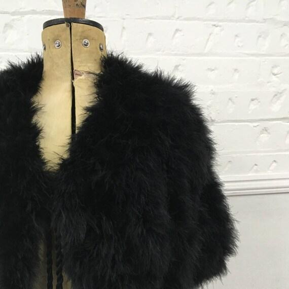 Black Marabou Cape - Black Feather Shrug - 1930's