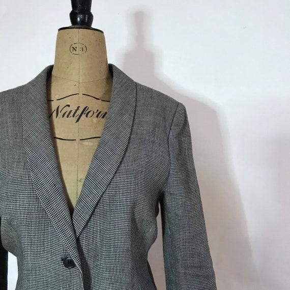 Vintage Houndstooth Jacket - Black and White Linen