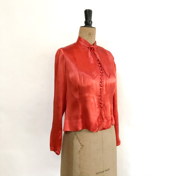 Silk Blouse - Vintage Blouse - Orange Blouse - Lin
