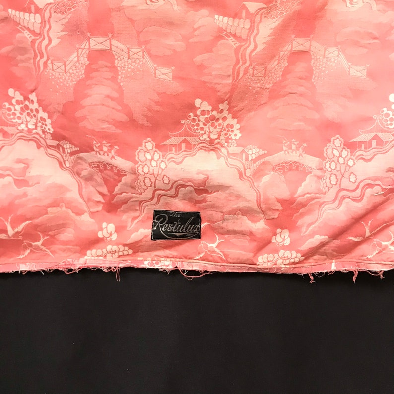 French circa 1920 Pink and White Furnishing Fabric Rare Antique Chinoiserie Ticking Panel Interior Design Home Decor