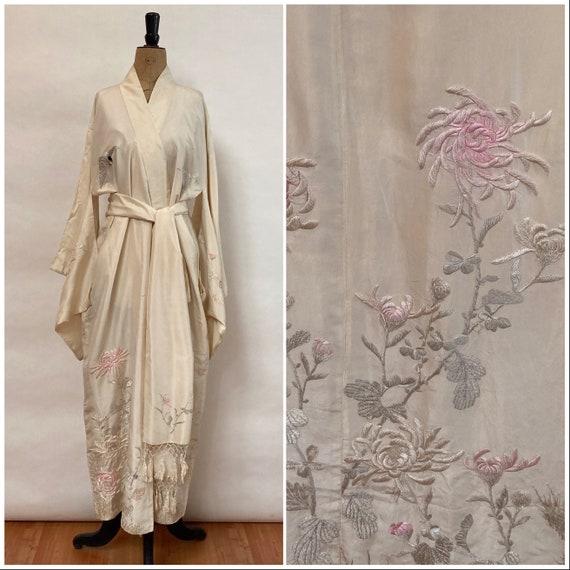 Cream Silk Kimono - 1930's Antique Silk Robe - Jap