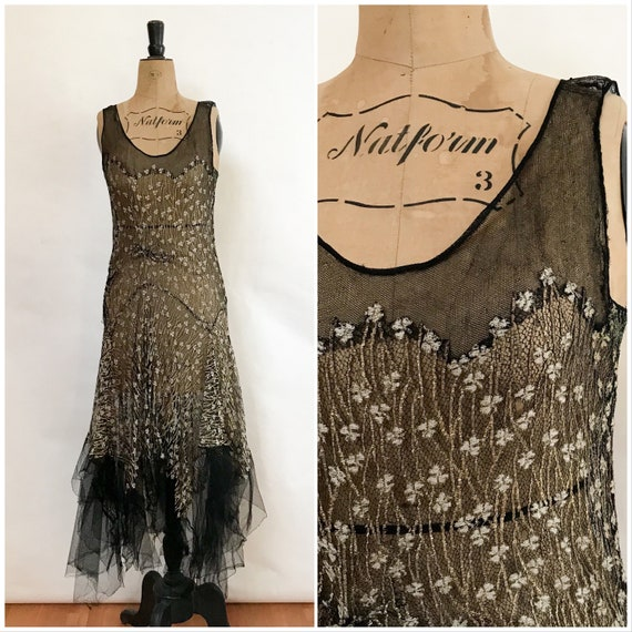 1930s Dress - Black Gold Evening Dress - Lamé Cock