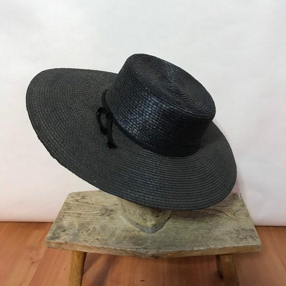 Black Straw Sun Hat - Wide Brimmed Hat - Black Sun