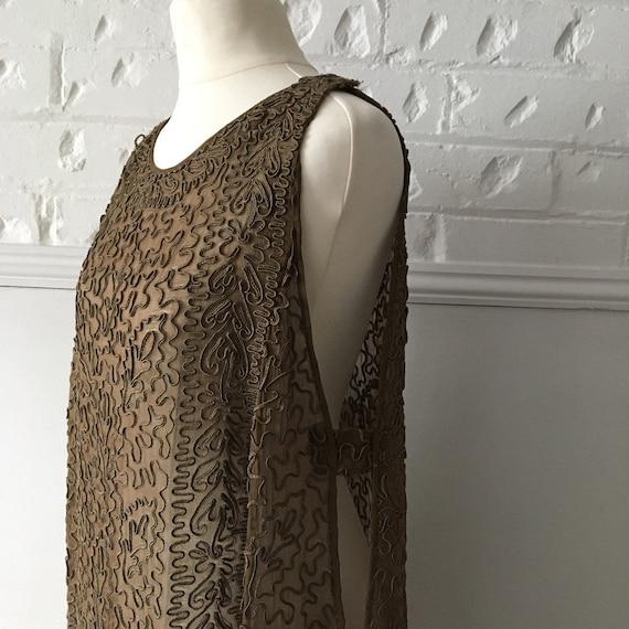 Antique Flapper Dress - Brown Silk Dress - Vintage