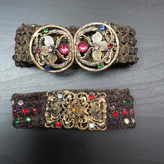 Pair of Vintage Belts - 1930's Diamanté Belt - Cze