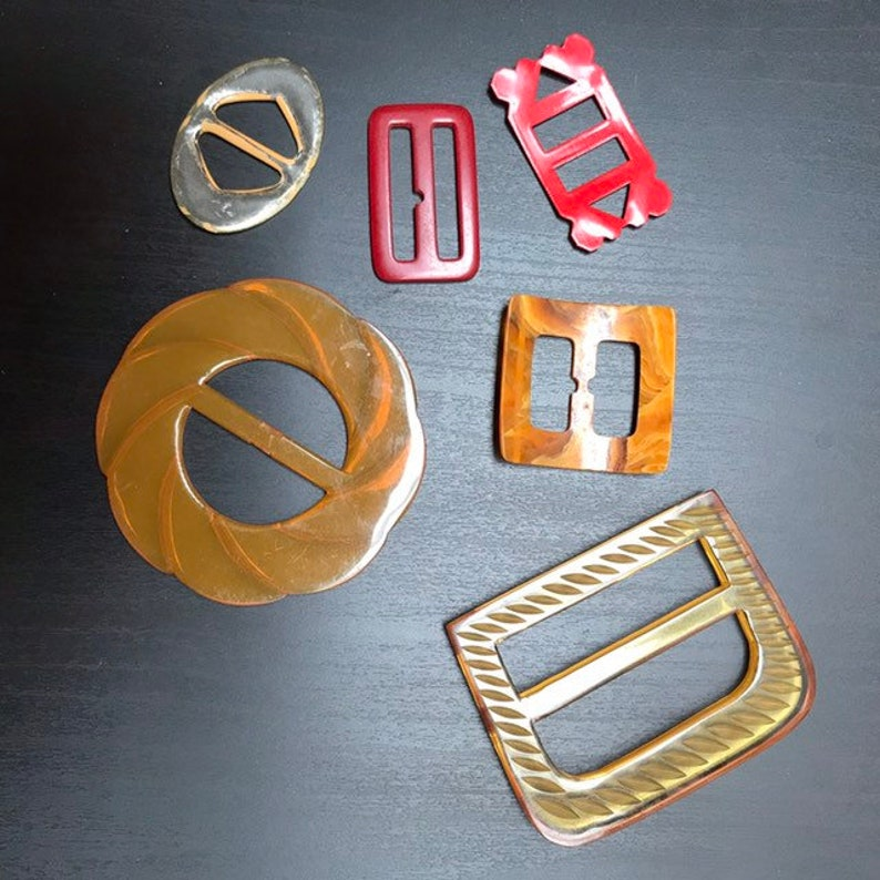 Sewing Supplies Red Yellow Buckles Antique Plastic Buckles Vintage Buckles