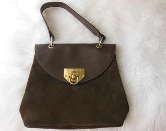 a74876fa135 Vintage Nina Ricci Paris Handbag, Brown Leather Handbag, 1980's, Top Handle  Purse