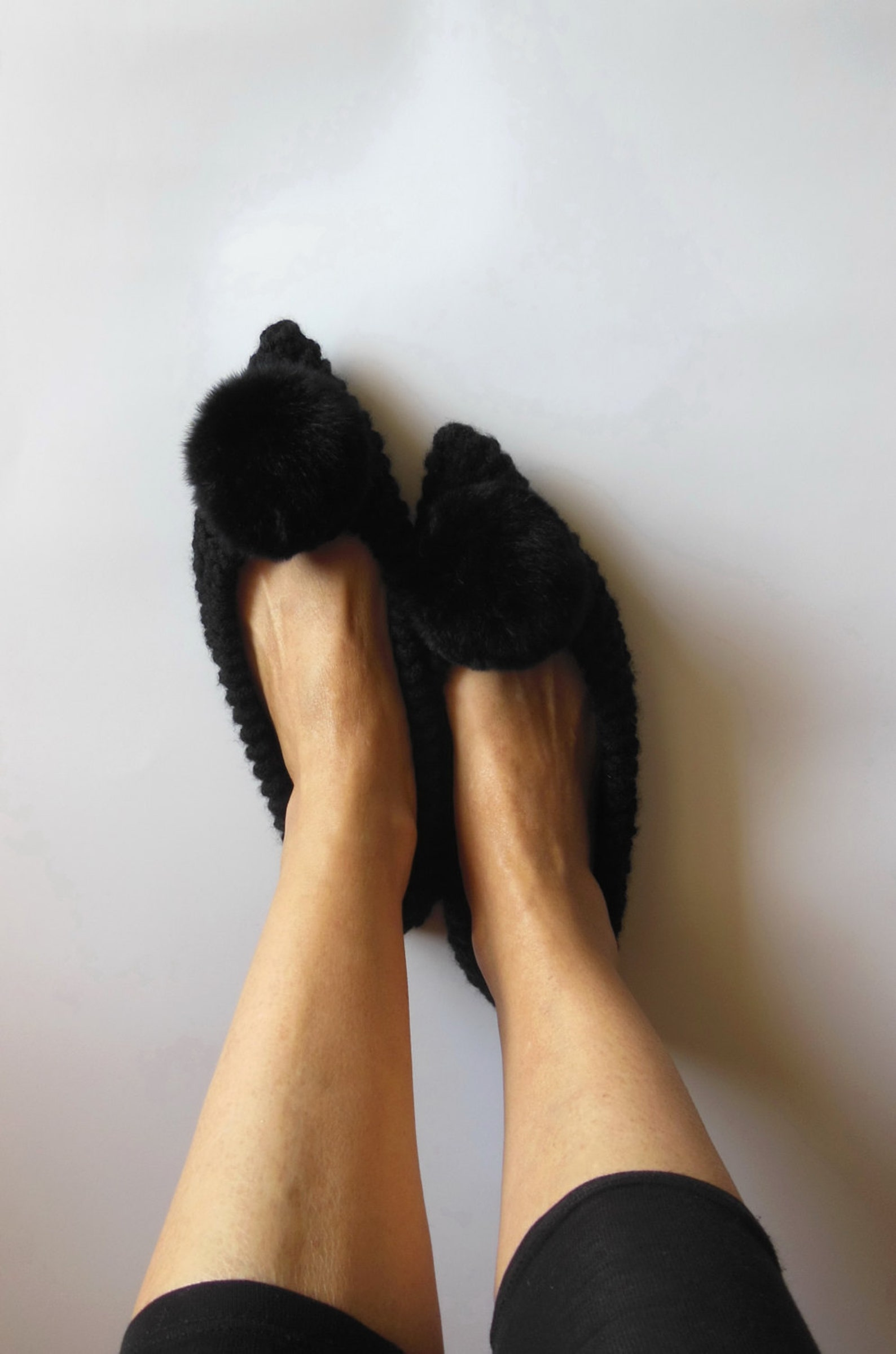 pointed toe flats, real or faux fur pom pom, black wool slippers, witches shoes, non-slip ballet flats, gift wrapping, handmade