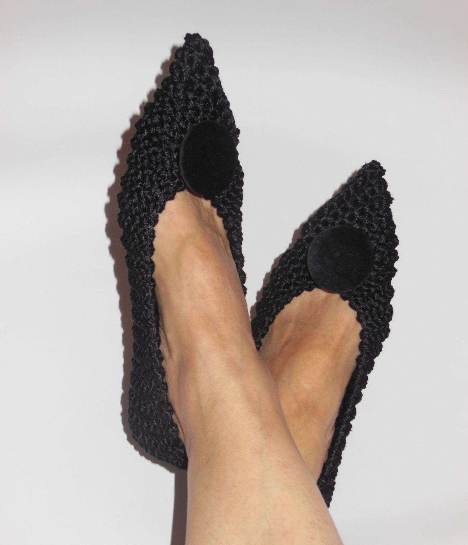 pointed toe flats, womens non-slip cotton slippers, black slippers, gift wrapping, gift for her, ballet flats, knitted, crochet