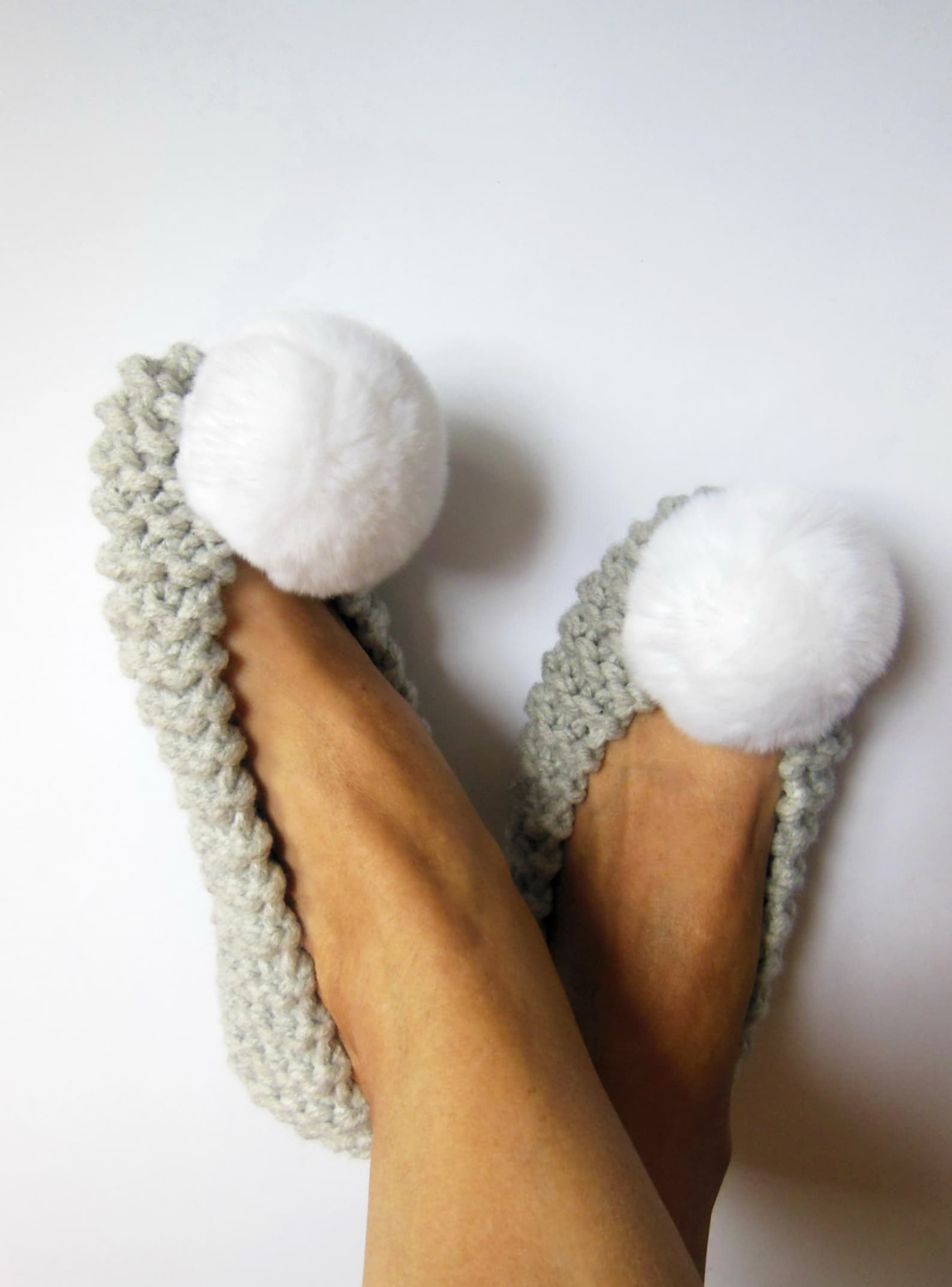 women's gray slippers, real or faux fur pom-poms, chunky non-slip furry slippers, home shoes, hand knit slippers, ballet fla