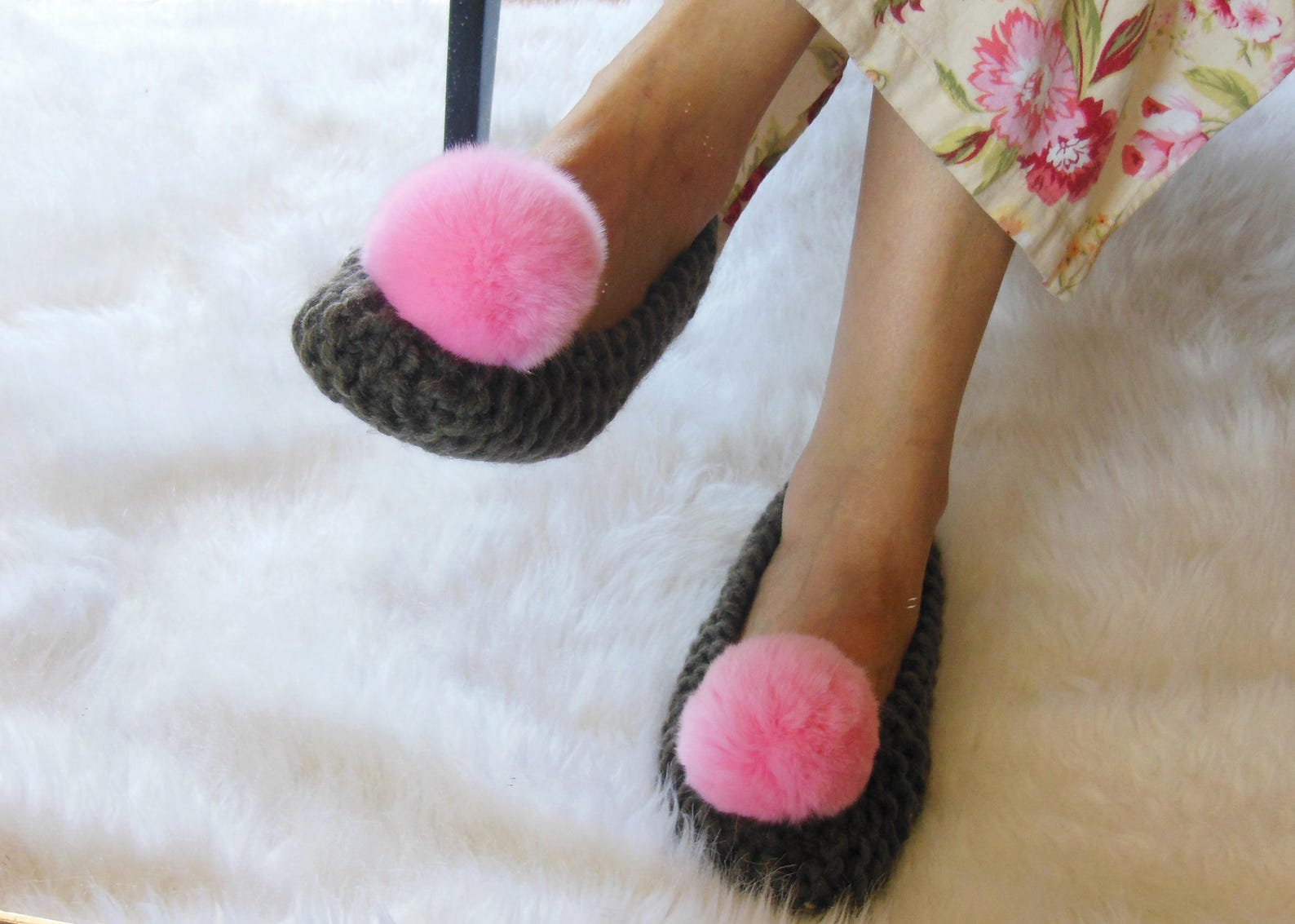 womens wool knitted slippers, home shoes, brown chunky slippers, real or faux fur pink pom poms, non-slip, gift wrap, ballet fla