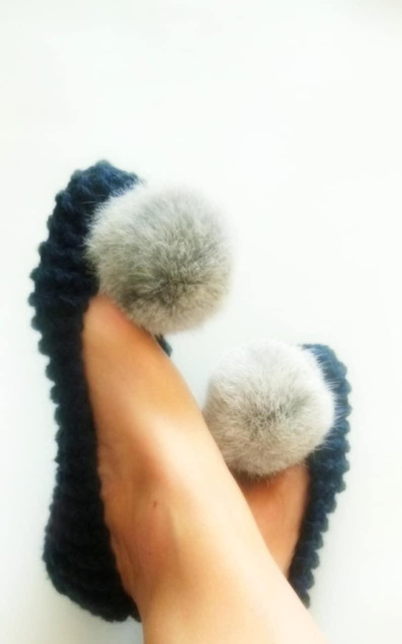 048c8526bc7 Calcetines zapatillas azul marino zapatillas de mujer de lana