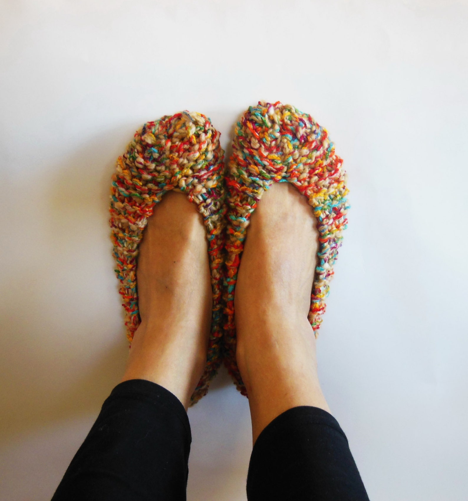 melange crochet women's slippers, non slip, chunky slippers, hand made home shoes, footwear, gift wrapped, ballet flats, by