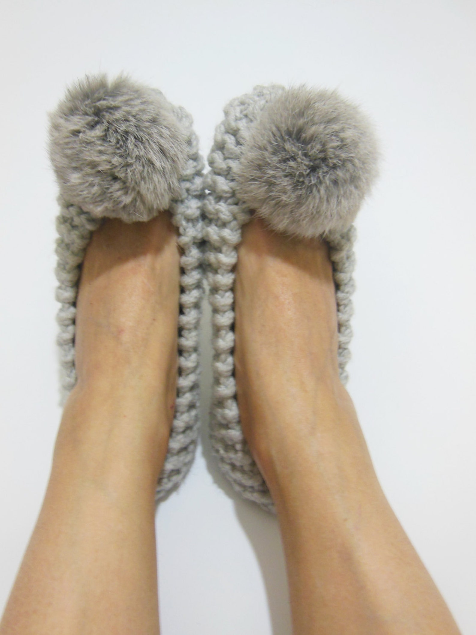 gray knitted slippers, real or faux fur pom poms, women's slippers, chunky wool slippers, non-slip ballet flats, gift wrappe