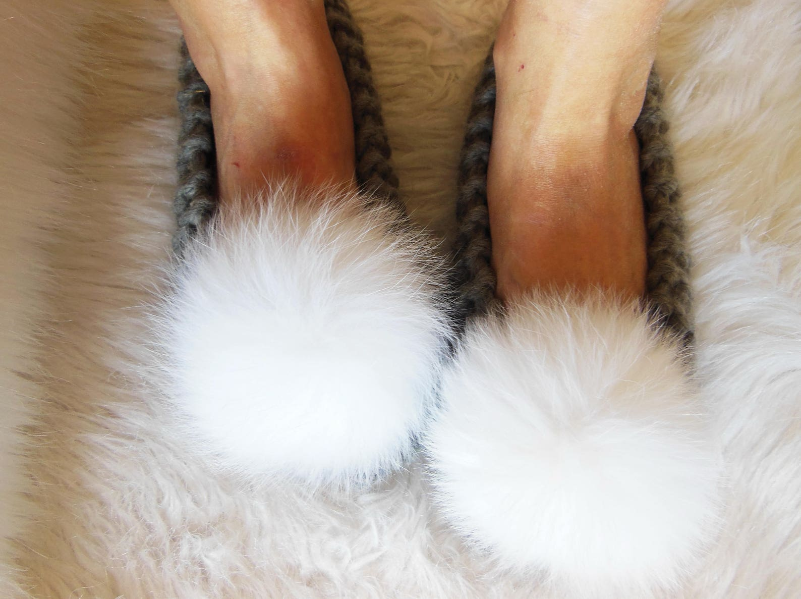 super chunky wool slippers, gray slippers, real fox fur pom-poms, women's house slippers, non-slip house shoes, ballet flats