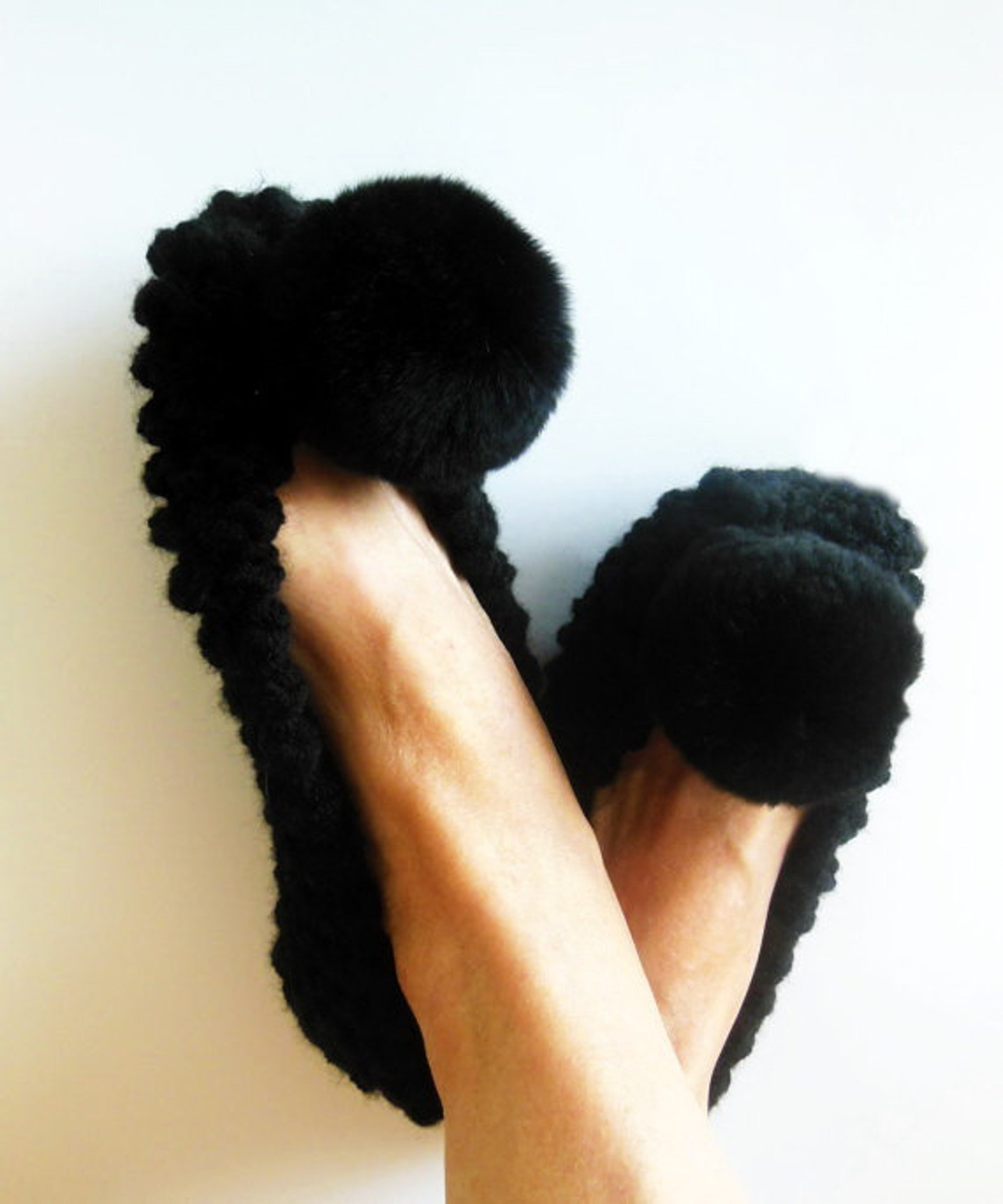 black chunky slippers, womens slippers, non-slip slippers, real or faux fur pom pom, ballet flats, gift for her, gift wrapping,