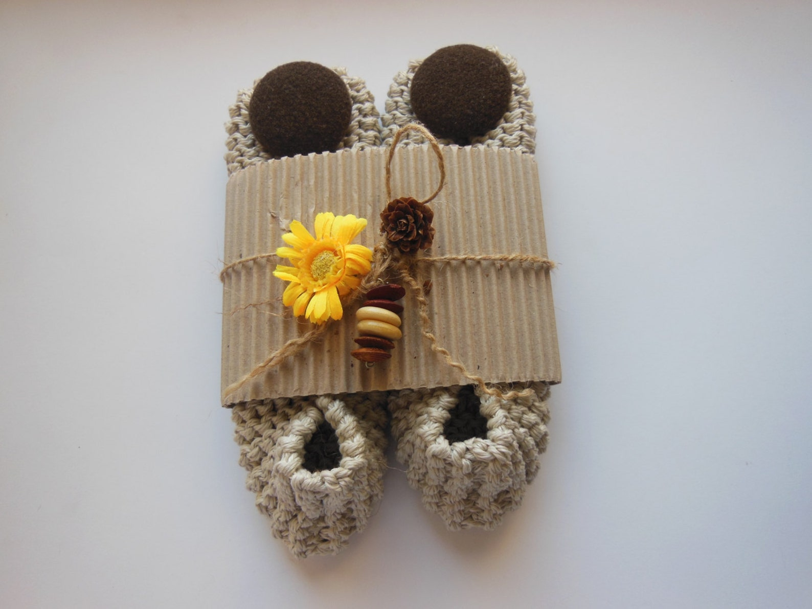 beige cotton women's slippers - footwear - ballet flats - handmade shoes - knitted slippers - nenaknit - gift idea gift wrap