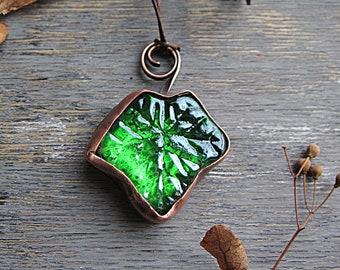 Big Green Glass Pendant Copper Leaf Necklace Boho Rustic Pendant Glass Copper Jewelry Earthy Boho Rustic Jewelry Bohemian Botanical Necklace
