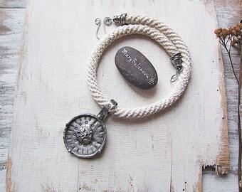 aa5818cf6 Large Tiffany Technique Pendant, Short Circle Ethnic Necklace, Boho Rustic  Earthy Pendant, Statement Jewelry, Big Handmade Metalwork Pendant