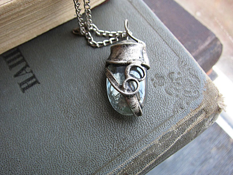 470b003e2 Tiffany Pendant Little Oval Necklace Transparent Glass   Etsy