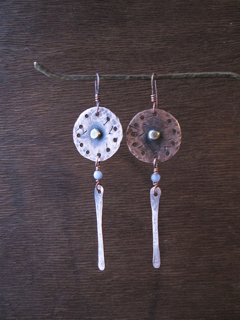 Handmade Metalwork Long Dangle Ethnic Rustic Hand Forged Disc Earrings Textured Circles Lilac Agate Hammered Copper Earrings