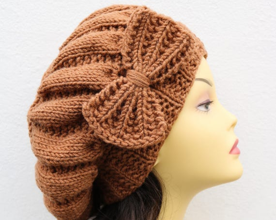Caramel Brown Woman Hand Knitted Hat with Bow, Caramel Beret hat with bow, brown knit hat, slouchy knit women's hat with bow, winter hat