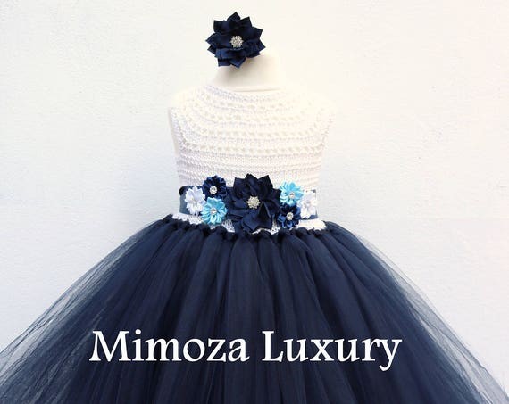 Navy White Flower girl dress, White and Navy tutu dress, navy blue white bridesmaid dress, navy blue princess dress, white navy wedding