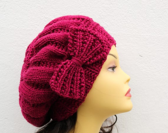 Magenta Dark Fuchsia Woman Hand Knitted Hat with Bow, Beret hat with bow, Dark Fuchsia knit hat, slouchy knit women's hat with bow, winter