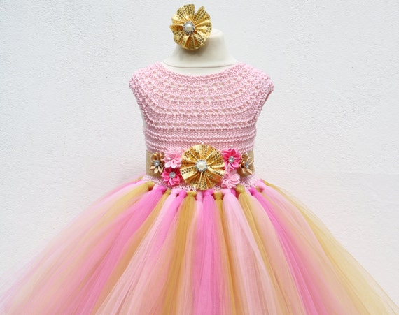 Pink and Gold Flower girl dress, Peppa Pig tutu dress, bridesmaid dress, princess dress, pink crochet top tulle dress, peppa pig dress