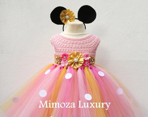Gold & Pink Minnie Mouse Birthday Dress, minnie mouse princess outfit, 1st birthday dress, 2nd birthday dress, minnie mouse headband ears