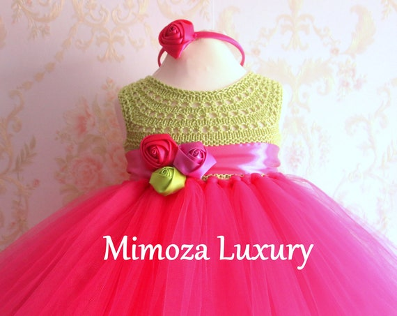 Green / Fuchsia girls dress