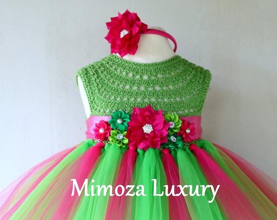 Green/Fuchsia watermelon girls dress