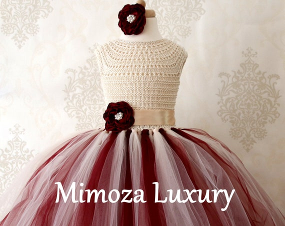 Burgundy & Champagne Flower Girl Dress