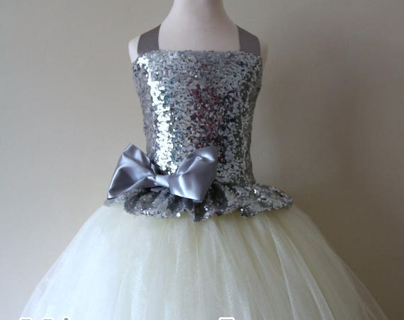 Silver & Ivory Flower Girl Dress, Silver bridesmaid dress, couture flower girl gown, bespoke girls dress, tulle princess dress, Silver tutu