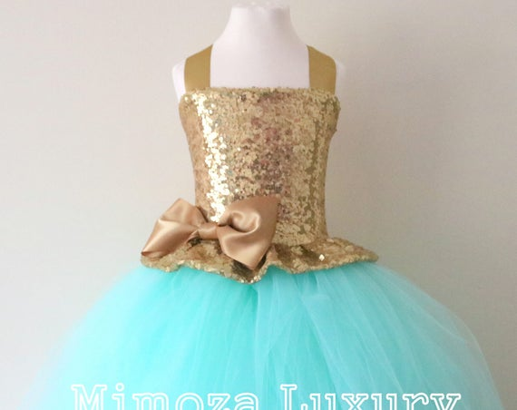 Mint & Gold Sequin Flower Girl Dress, mint green bridesmaid dress, flower girl gown, bespoke girls dress, tulle princess dress, mint dress