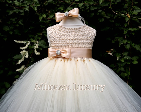 Champagne Flower Girl Dress, Cream champagne christening dress, champagne cream baptism dress, cream first communion dress, champagne dress
