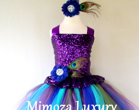 Peacock Girl Dress, purple sequin peacock dress, pageant peacock dress