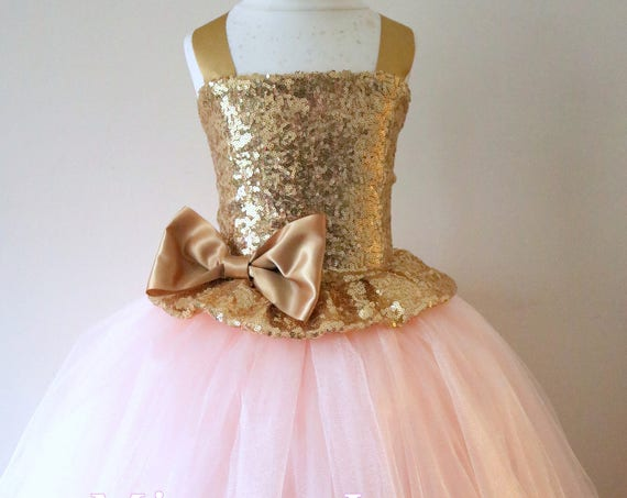 Gold Blush Flower Girl Dress, gold bridesmaid dress, couture flower girl gown, bespoke girls dress, tulle princess dress, gold blush tutu