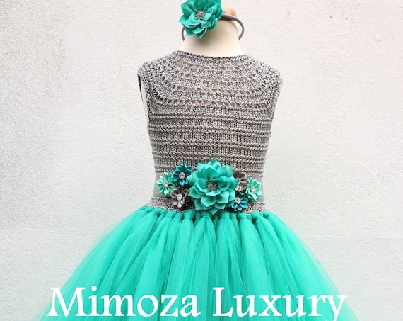 Teal green & Silver Flower girl dress, teal green tutu dress, bridesmaid dress, princess dress, silver crochet top teal green tulle dress