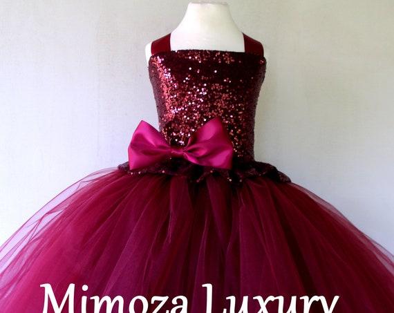 Burgundy sequins Flower Girl Dress, burgundy tulle bridesmaid dress, couture flower girl gown, bespoke girls dress, tulle princess dress