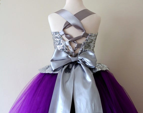 Purple & Silver Flower Girl Dress, Purple bridesmaid dress, couture flower girl gown, bespoke girls dress, tulle princess dress, Purple gown