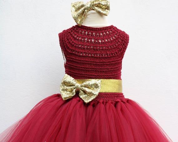 Burgundy Flower girl dress, Christmas tutu dress, bordo tutu dress, bridesmaid dress, princess dress, crochet top tulle dress, crimson dress