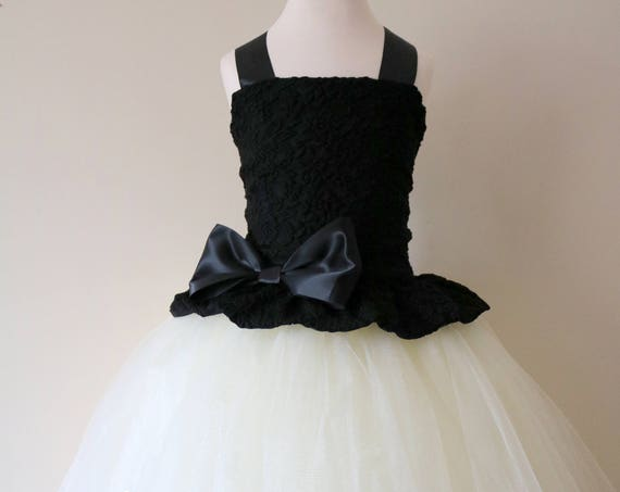Black & Ivory Flower Girl Dress, Black bridesmaid dress, couture flower girl gown, bespoke girls dress, tulle princess dress, Black tutu