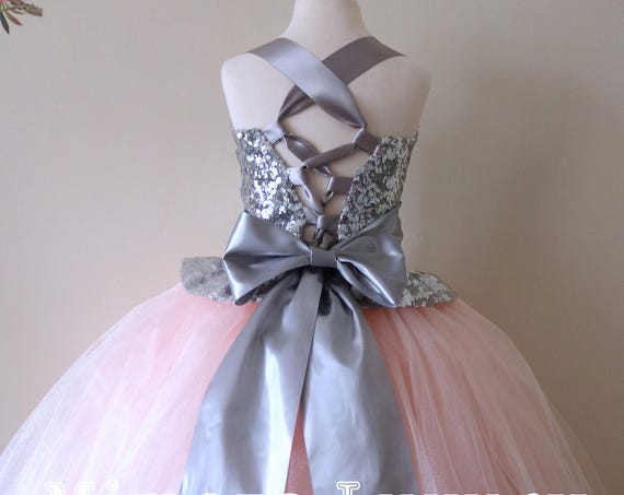 Blush & Silver Flower Girl Dress, blush bridesmaid dress, couture flower girl gown, bespoke girls dress, tulle princess dress, silver sequin