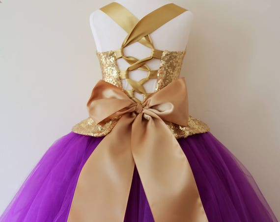 Gold Purple Flower Girl Dress, gold bridesmaid dress, couture flower girl gown, bespoke girls dress, tulle princess dress, gold purple tutu