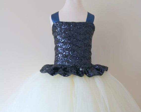 Navy Flower Girl Dress, Navy bridesmaid dress, Navy couture flower girl gown, bespoke girls dress, Navy tulle princess dress, Navy tutu