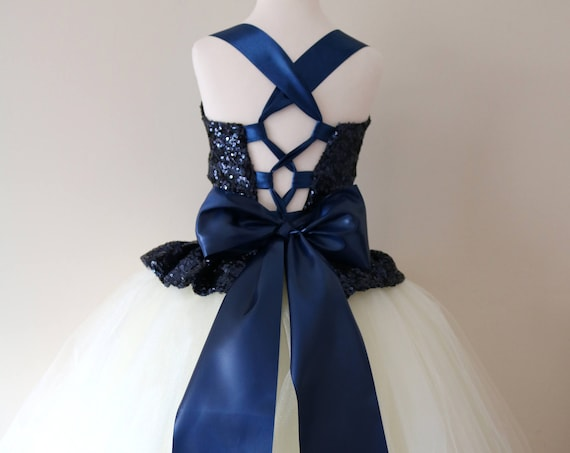 Navy Ivory Flower Girl Dress, Navy bridesmaid dress, couture flower girl gown, bespoke girls dress, Navy Ivory tulle princess dress